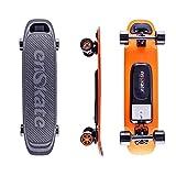 EnSkate 電動スケートボードロングボード, 最大12マイルの通勤範囲、最高速度22 MPH, デュアルモーター900W(Woboard オレンジ )