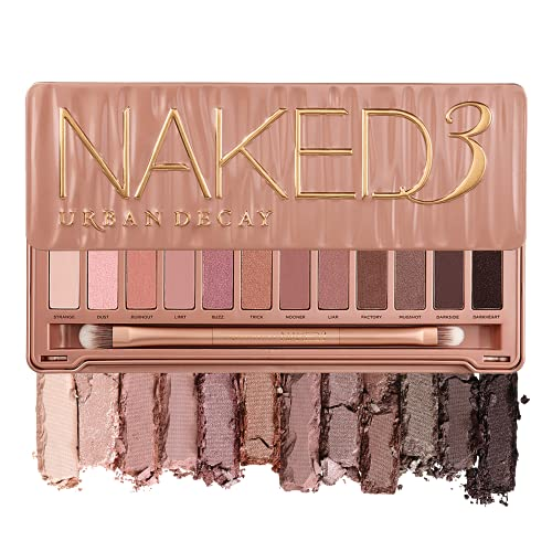 Urban Decay Naked3 Eyeshadow Palette, 12 Versatile Rosy Neutral Shades for Every Day - Ultra-Blendable, Rich Colors with Velvety Texture - Set Includes Mirror & Double-Ended Makeup Brush