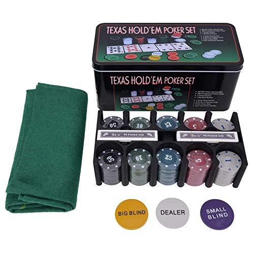 LGFB Blackjack-Sets 200 Poker Chips Kartenspiel für Familie Freunde Sponsored Kasino, Unterhaltung mit Tischdecke