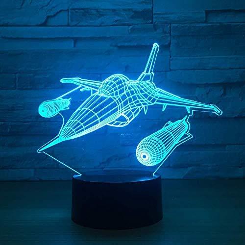 D nachtlampje nachtlampje kampeervliegtuig, multijet, aangedreven door een verjaardag, een jaar, 7 kleurvariaties, illusie, beste geschenk, slaapkamer, decoratie, familie vrienden van acryl