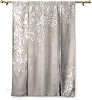 SEMZUXCVO Spa Curtain Oriental Decor Floral Ivy Swirls Leaves Abstract Modern Frame Like Artwork Image Soft Texture W24 x L72 Cream Tan and White