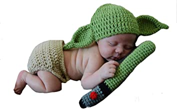 Shirleyle Newborn Infant Crochet Knitted Clothes Baby Hat Diaper Outfit Baby Crochet Knitted Photo Photography Props-Green Photo Prop Costume Outfits