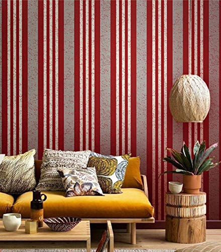 Papel Tapiz Rojo Mediterráneo Rayas PVC Wallpaper Rollo para Paredes Habitación de Cama Papel de Pared Vintage Revestimientos de Pared Decoración del hogar 5.3m²