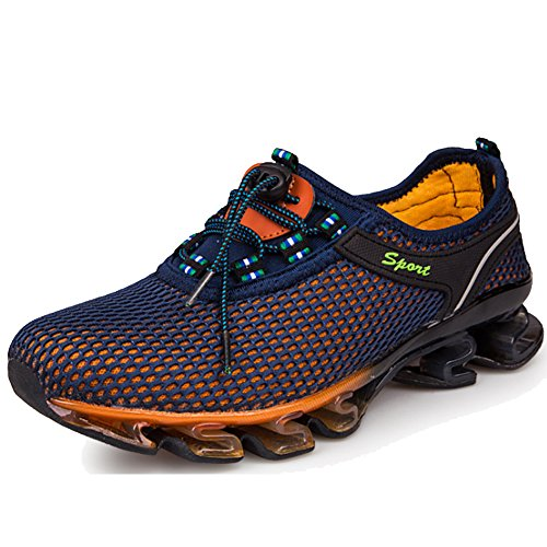 LiliChan Herren Wasser Schuhe Schnell trocknend Leicht Breathable Springblade Mesh Running Athletic Schuhe,Navy blau,46