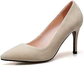 BalaMasa Womens Solid Nubuck Fashion Urethane Pumps Shoes APL11161