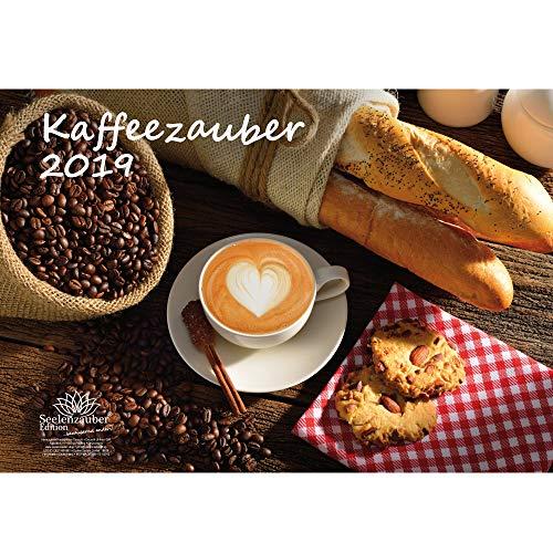 Kaffeezauber · DIN A3 · Premium Kalender 2019 · Bohne · Café · Latte Macchiato · Espresso · Kaffee · Geschenk-Set mit 1 Grußkarte und 1 Weihnachtskarte · Edition Seelenzauber