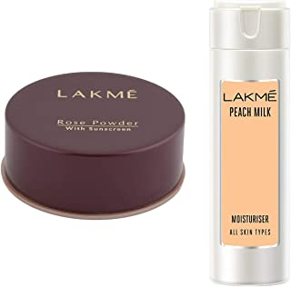 Lakme Rose Face Powder, Warm Pink, 40g & Lakmé Peach Milk Moisturizer Body Lotion 200 ml