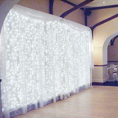 600 LED 6Mx3M Zorela Tenda Luminosa Natale IP44 Impermeabile Luci di Natale 8 Modalità Tenda Luminosa Esterno Bianco Freddo Tenda di Luci Esterno LED Luci Stringa per Natale, Giardino e Matrimonio