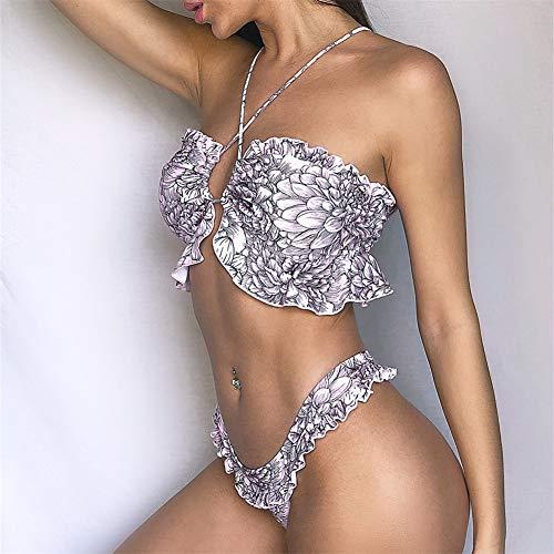 Secret night Neue Gekräuselter Bikini Europäische Und Amerikanische Hollow Strap Floral Tanga-Bikini Zum Schwimmen Strandbadebekleidung Frauen Gebraucht,Lila,S