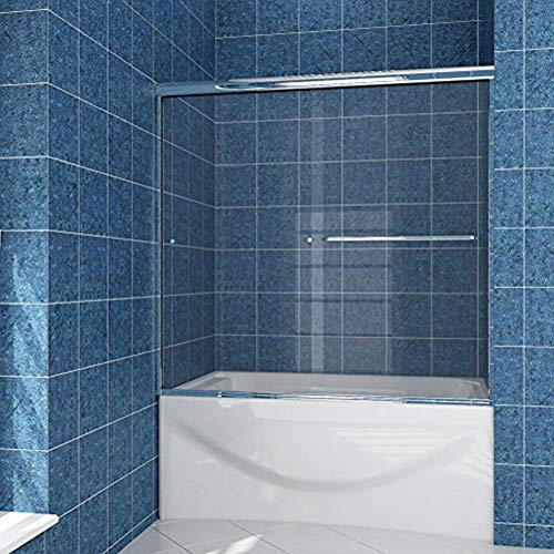 SUNNY SHOWER Sliding Bath-Tub Glass Shower Doors 58.5-60 in. W x 57 3/8 in. H Bypass Sliding Shower Tub Door 1/4 in. Clear Glass Shower Enclosure Doors for Bathroom, Chrome Finish