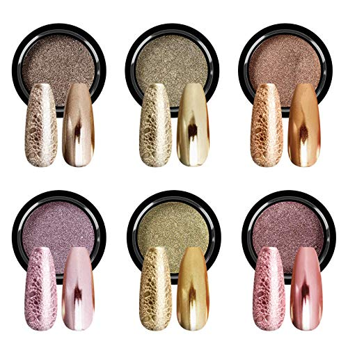 Saviland Chrome Nail Powder - Holographic Gold Nail Powder 6 Colors Metallic Mirror and Bubble Effect Nail Art Decoration Manicure Pigment Set for Nails