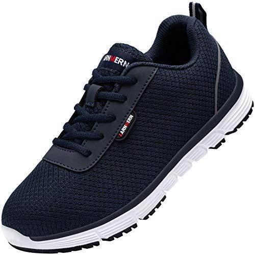 LARNMERN Sicherheitsschuhe Stahlkappe Damen, SRC Anti Slip Arbeitsschuhe Anti Statische Industrie Schuhe L8038 (39 EU, Blau)