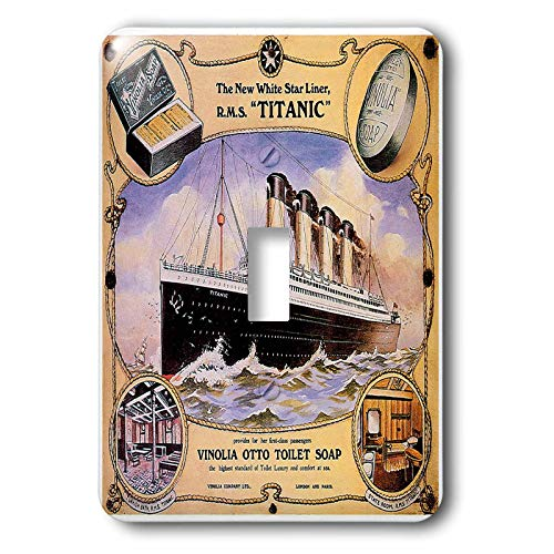 1-Gang Wall Plate Cover Decorator Wall Switch Light Plate Double Receptacle Outlet Vintage White Star Line Titanic Vinolia Otto Toilet Soap Advertising Poster Classic Beadboard Unbreakable Faceplate