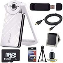 6Ave Casio EX-TR50 Self Portrait/Selfie Digital Camera (White) + 16GB microSD Memory Card + Micro HDMI Cable + SDHC Card USB Reader + Memory Card Wallet + Deluxe Starter Kit Bundle