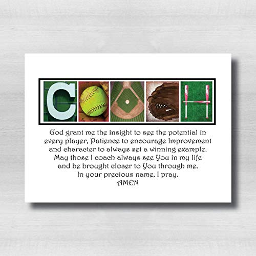 Softball Coaches Prayer Gift, Softball Gift for Coach, 8x10 photo PRINT, printed on photo paper