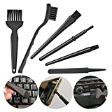6 in 1 Keyboard Brushes Kit Electronical Dust Cleaning Removal Brush Kit Plastic Black Small Portable Handle Nylon Anti Static Brushes Cleaning Home Cleaning