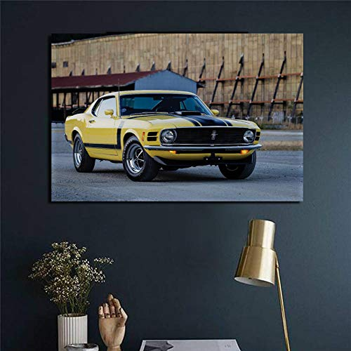 agwKE2 Classic Mustang Boss 302 1970 Amarillo Muscle Car Vista Lateral decoración de la Sala de Estar decoración del hogar póster / 60x80 cm (sin Marco)