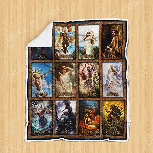 GEEMBI Twelve Olympians Greek Mythology Sofa Blanket P211, Adult Sherpa Fleece Throw Blankets Bedding Blanket Reversible -Decorative Blanketed - Artwork Sherpa Blanket - Best Gift 2019