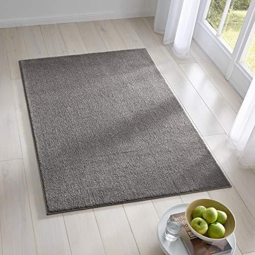 Teppich Wölkchen Kurzflor Teppich I Flauschige Flachflor Teppiche fürs Wohnzimmer, Esszimmer, Schlafzimmer oder Kinderzimmer I Einfarbig I Dunkelgrau - 80 x 150