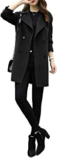 neveraway Womens Notched Lapel Cocoon Winter Coat Fashion Woolen Overcoat Jacket