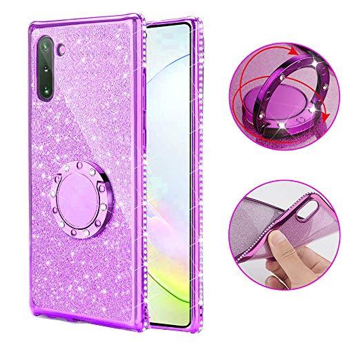 SevenPanda iPhone XR Hülle, Ring Kickstand Glitter Süß Bling Deckung für Mädchen Frauen Diamond Sparkly kompatible Handyhülle für iPhone XR 6.1 Zoll Hülle - Lila