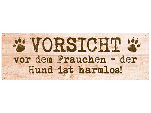 Interluxe METALLSCHILD Shabby Blechschild Vorsicht VOR DEM Frauchen Hund Schild Geschenk
