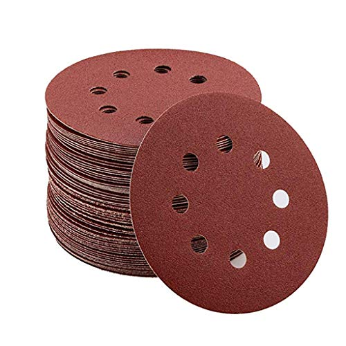 jieGorge 80 PCS Abrasive Discs 125 mm Assortment: 10 X 40/80/120/240/320/400/600/800 Grit, Tools & Home Improvement for Easter Day (RED)
