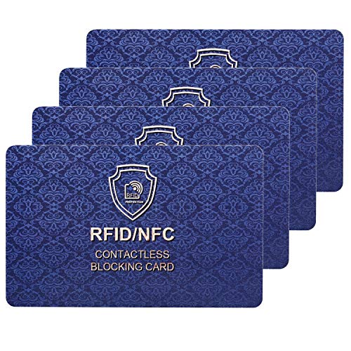 RFID Blocking Card | NFC Contactless Cards Protection | 1 Card Protects Your Entire Wallet | No More Need for Single Sleeves | for Men or Women, Credit Card Holder, Wallets or Passport (Deep Blue)