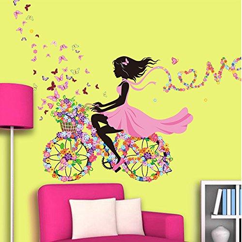 OLSR® Schönes Mädchen auf Blumen-Fahrrad Abnehmbare wasserdichte Wandaufkleber Haus Dekoration für Kinder Zimmer Wohnzimmer (B)