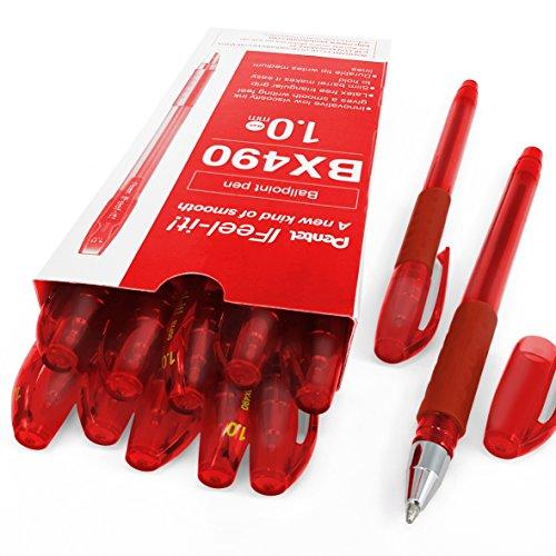 Pentel - Feel-It! - 1.0mm Ergonomic Stick Ballpoint Pen - BX490 - Box of 12 - Red