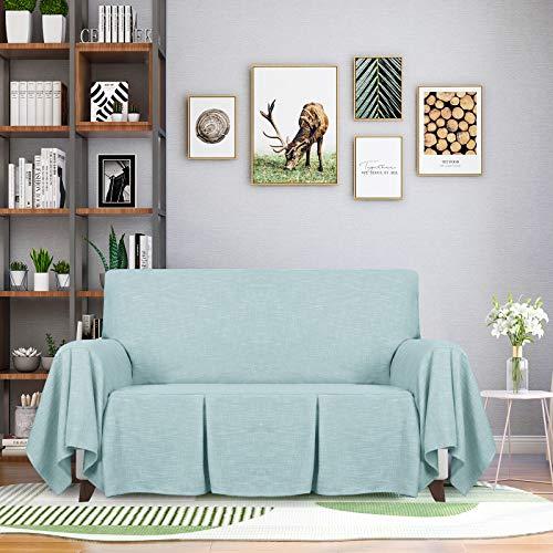 ZNSAYOTX - 1 Pieza de Fundas para sofá de 2 Cojines para sofá de salón, Funda elástica Antideslizante, Lavable para Mascotas, Protector de Muebles con Volantes (Sillón de Dos...