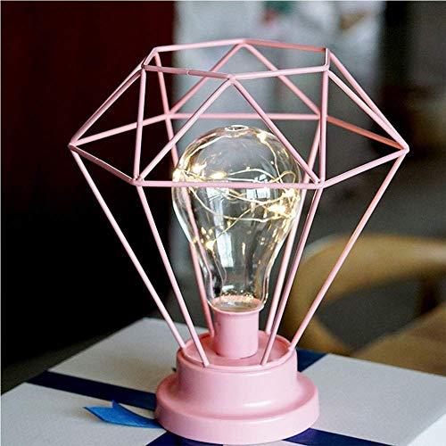 Waqihreu Lámpara de Mesa Industrial Diamond Iron Lámpara de Noche Decorativa Vintage, lámpara de Noche nórdica Adecuada para Dormitorio, Sala de Estar, Bar, iluminación Decorativa de Hotel, Rosa