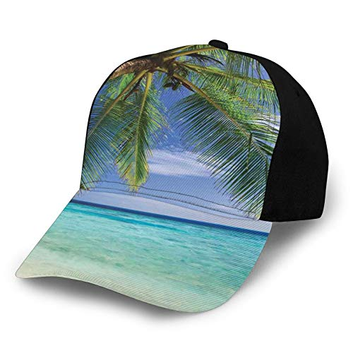 Printed Baseball Cap,Tropical Paradise At Maldives with Palms and Sky,Hat for Men Women Teens