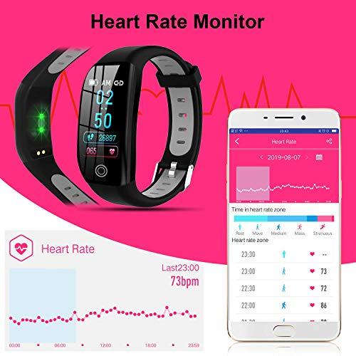 Tipmant Fitness Armband mit Pulsmesser Blutdruckmessung Smartwatch Fitness Tracker Wasserdicht IP68 Fitness Uhr Schrittzähler Pulsuhr Sportuhr für Damen Herren Kinder ios iPhone Android Handy Schwarz - 2