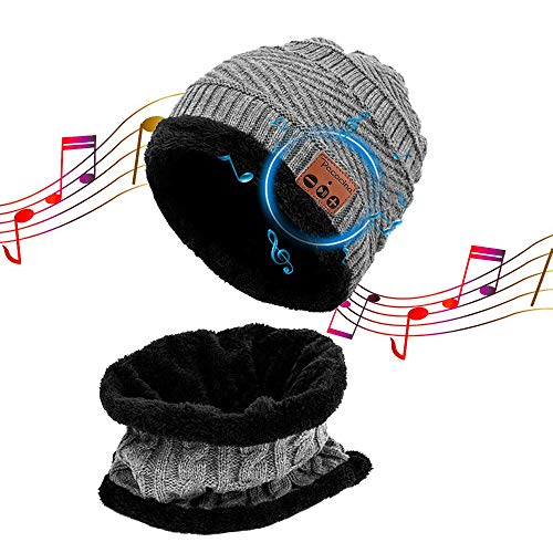 FengsHUAI Bluetooth hoed, winterbeanie, draadloze gebreide muts afneembare stereo-luidsprekers en microfoon met oplaadbare USB-handsfree bellen en muziek beluisteren, unisex voor fitness sport