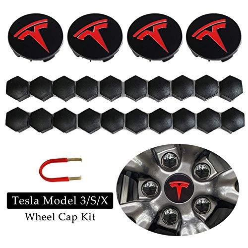 BMZX Tesla Model 3 Model Y Model S Model X Tapacubos, juego de 4 unidades de tapacubos centrales y 20 unidades cubiertas de tuerca de rueda (rojo)