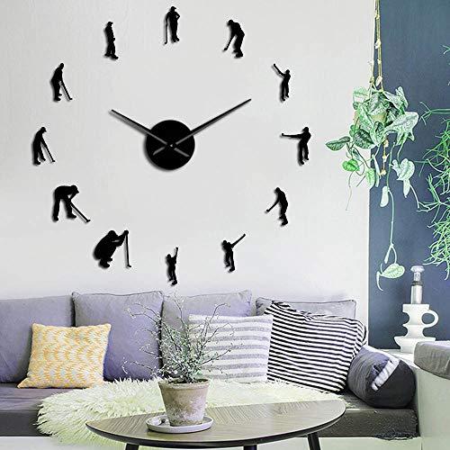 RRBOI Golfeurs Grand DIY Horloge Murale Golf Player Miroir Wall Art Autocollants Géant Horloge Murale Golf Club Suspendu Montre Sport Golf Décor 37inch (Noir)
