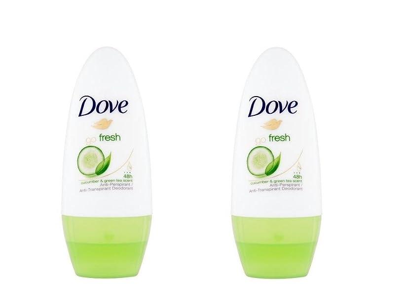 透明に線合唱団新鮮なキュウリロールオン制汗デオドラント50ミリリットルを行く鳩 x2 - Dove Go Fresh Cucumber Roll-On Anti-Perspirant Deodorant 50ml (Pack of 2) [並行輸入品]