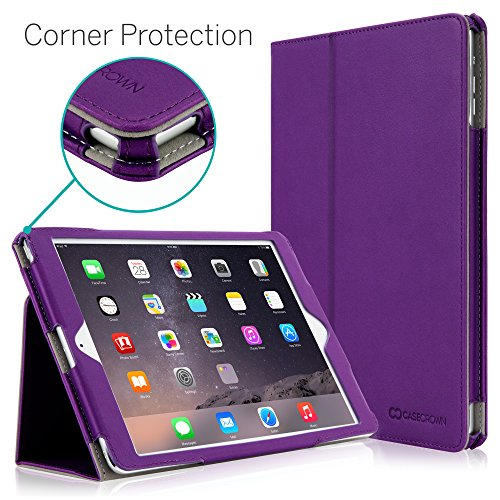 """iPad Air 2 9.7"""" Case, [Corner Protection] CaseCrown Bold Standby Pro (Purple) with Sleep/Wake & Multi-Angle Viewing Stand"""