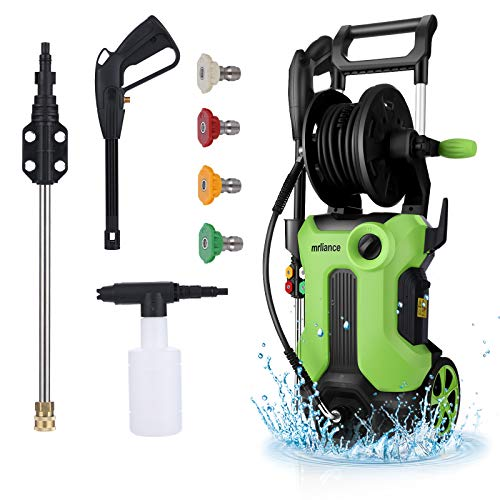 mrliance Electric High Pressure Washer 3800PSI, High Pressure Cleaner Machine 2.8GPM High Pressure Power Washer Machine 2000W with Hose Reel+4 Interchangeable Nozzles (Blue)