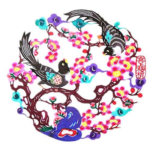 Black Temptation 4PCS Chinese Traditional Art Paper Cut Décor Collection colorée Souvenir-A15
