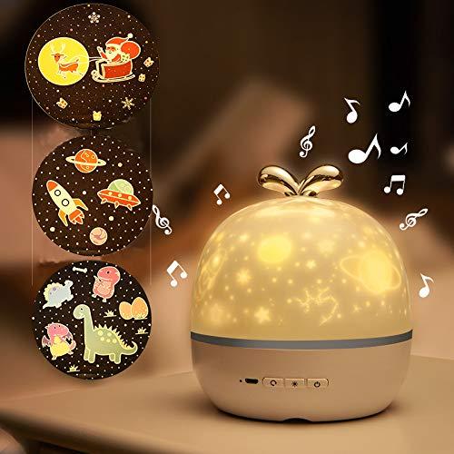LMIX Lampada Proiettore Musicale con Stellato, Luce Notturna a Proiezione Ruotabile, 6 Tipi di Film di Proiezione / Timer / Telecomando / Bluetooth, per Bambini Adulti Famiglia Amici
