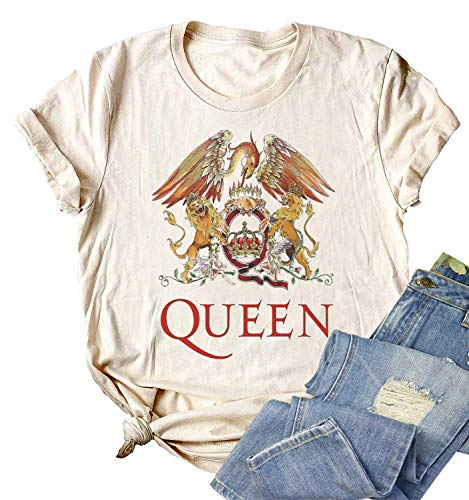 Women's Queen Band Crest Logo T-shirt, available in 5 Colors, S to XXL