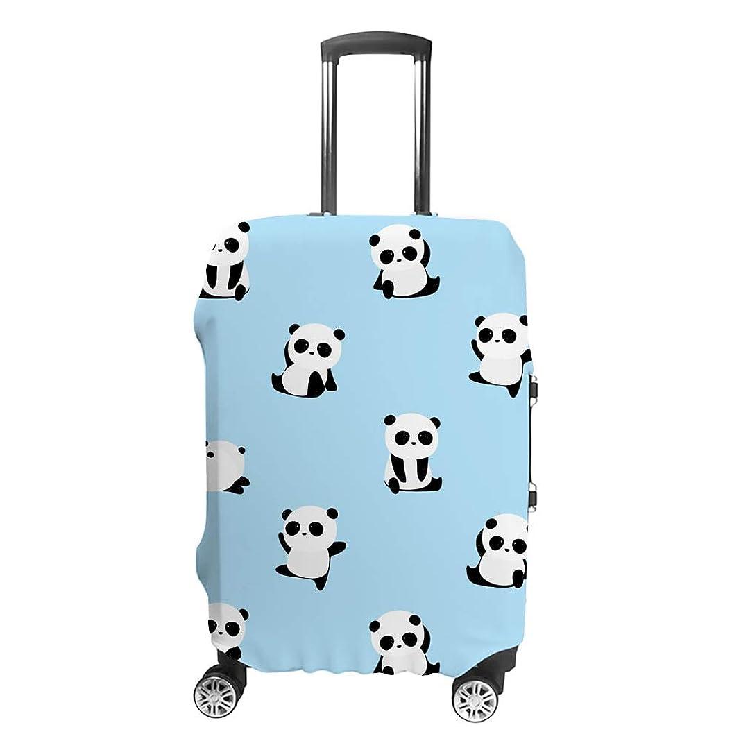 リール慣性直面するスーツケースカバー ?かわいいパンダ 伸縮素材 キャリーバッグ お荷物カバ 保護 傷や汚れから守る ジッパー 水洗える 旅行 出張 S/M/L/XLサイズ