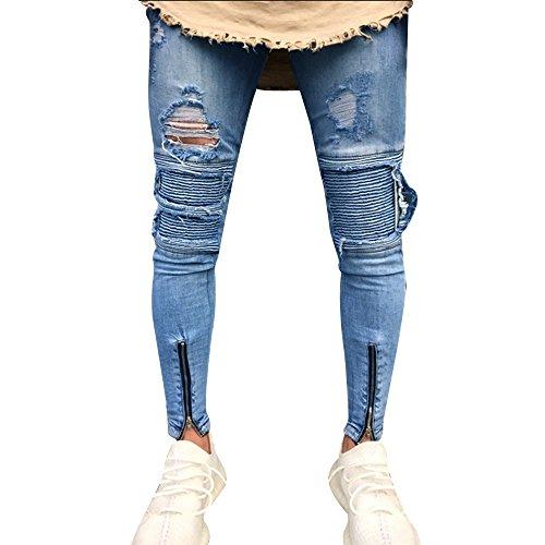 Rawdah_Pantalones Vaqueros Hombres Rotos Pitillo Originales Slim Fit Skinny Pantalones Casuales Elasticos Pantalones Vaqueros Largos