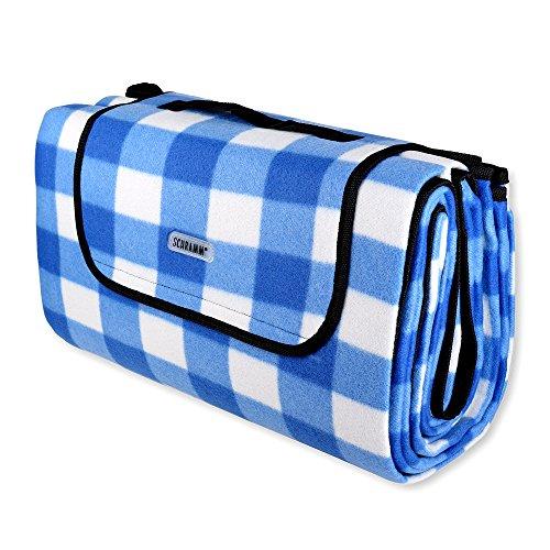 Schramm® Picknickdecke faltbar mit Tragegriff aus Fleece in 3 Farben 2 x 2m Picknickdecken Outdoordecke wasserfeste Unterseite, Farbe:Blau kariert