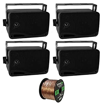 4 x New Pyle PLMR24 3.5   200 Watt 3-Way Weather Proof Marine Mini Box Speaker System  Black  and Enrock Audio 16-Gauge 50 Foot Speaker Wire