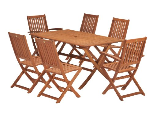 Wiltshire FSC Eucalyptus Wood 6 Seater Outdoor Dining Set with Rectangular Table