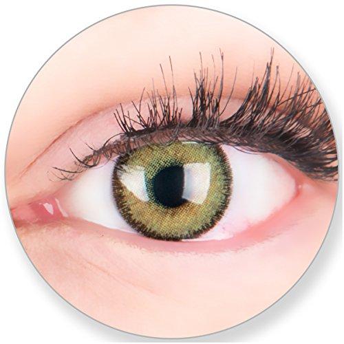 Glamlens Kontaktlinsen farbig grün ohne und mit Stärke - mit Kontaktlinsenbehälter. Sehr stark deckende natürliche grüne farbige Monatslinsen Maigrün 1 Paar weich Silikon Hydrogel0.0 Dioptrien