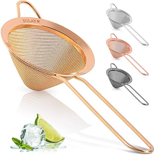 Zulay Stainless Steel Small Strainer - Effective Cone Shaped Cocktail Strainer For Cocktails, Tea Herbs, Coffee & Drinks - Fine Mesh Strainer That Is Rust Proof & Great As A Tea Strainer (Gold)